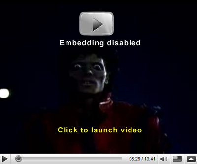Click here to see the video for Michael Jackson's 'Thriller'