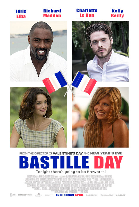 Alternate poster design for ensemble rom-com Bastille Day