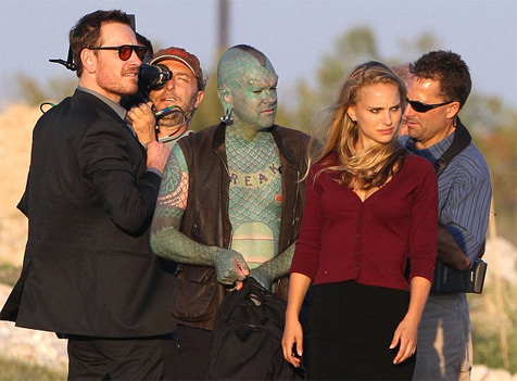 Just Fass, Portman and a lizardman shooting Malick's new film, no biggie