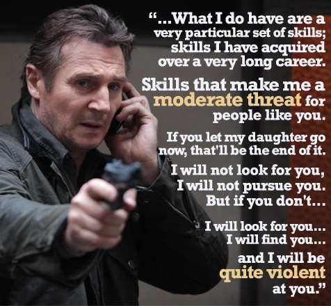 Liam Neeson dials down threat following Taken 2's 12A rating