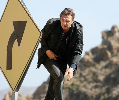 Liam Neeson does great impression of road sign in first Taken 3 still